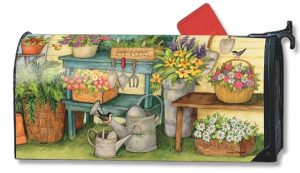Garden Workbench Floral Mailbox Cover