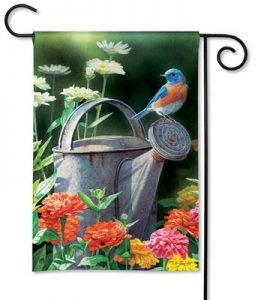 Watering Can Bird Garden Flag