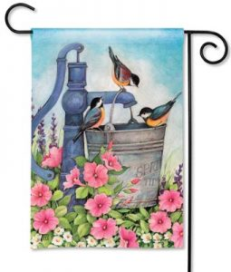 Birds on Water Bucket Bird Garden Flag