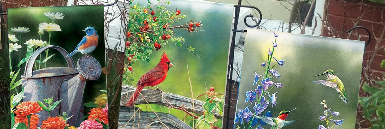 Display your love of birds with a garden flag for your yard